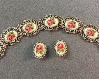 Rare Vintage Needlepoint Cross Stitch Bracelet and Clip Earrings Set.  Free shipping