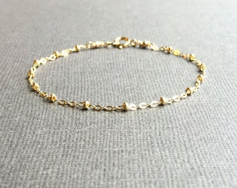 Yellow Gold Filled Chain Bracelet, Gold Satellite Chain Bracelet, Gold Saturn Chain Bracelet, Delicate Gold Bracelet, Dainty Gold Anklet