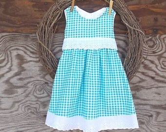 Girls Blue Gingham Dress, Girls  Dress, White Eyelet Dress,  Flower Girl Dress