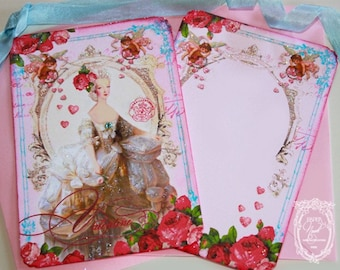 La Belle Marie Antoinette Roses Invitation or Cards Set  with Pretty Pink Envelopes Heart Shaped Seals Set of 6