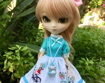 Pullip Blythe Doll Clothes Bicycle Dress Set