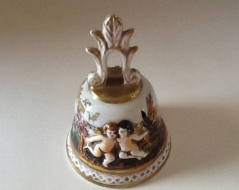 Vintage Angel Bell Italian Cherubs Capodimonte Porcelain Made in Italy Numbered Hollywood Regency Service Bell Hostess Gift