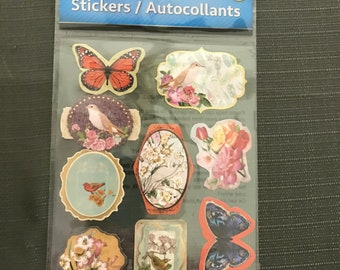 Butterflies Scrap-booking Stickers Paper Craft Butterfly Flowers Bird Embellishments 9 Piece