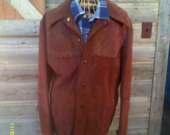 Men's Vintage Western Suede Coat, size 40/42, Men's Western Coat, Men's Leather Coat 42, Brown Suede Coat 40, Men's Coats 40