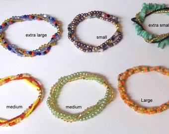 Now with a Lower Price - Stretchy mixed beads triple strand twisted bracelets ... sizes extra small, small, medium, large and extra large