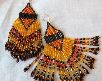 Beaded Fringe Earrings of Gold, Orange and Black seed beads
