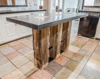 Reclaimed Wood Beam Concrete Kitchen Island W/ Black Top