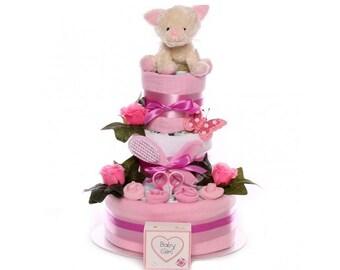 Large Nappy Cake Baby Girl, pink nappy cake, nappy cake gift baby girl, baby girl nappy cake, baby shower nappy cake, maternity nappy cake