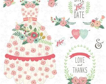 "Wedding Clipart pack"" FLORAL WEDDING DRESS"" clip art,Vintage Flowers,Flower dress,Floral Frames,Wreath,Wedding,Save the date,invitationWd118"