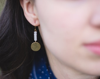 The Betty : raw brass and moonstone jade earrings
