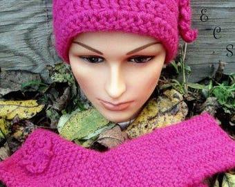 Hot Pink Hat Set,Crochet Hat Set,Crochet Pink Finger-Less Gloves,Crochet Pink Beanie, hat and Gloves set,Made To Order,Hat Set