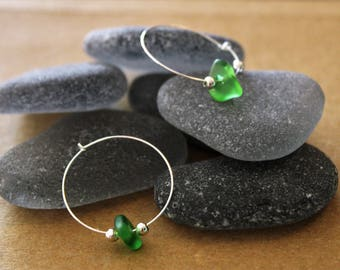 Emerald Green Sea Glass Hoop Earrings with Silver Wire