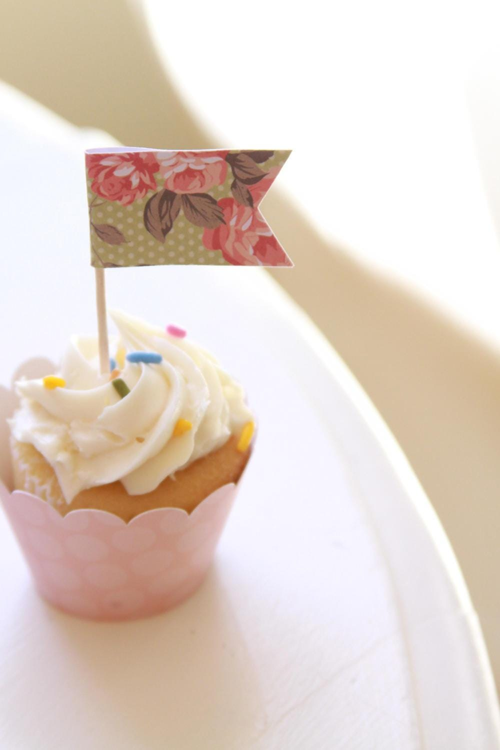 Shabby Chic Bridal Shower Decor, Afternoon Tea Party Cupcake Toppers ...