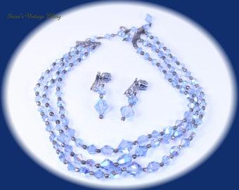 Vintage Jewelry Set Necklace Set Earrings Set Aurora Borealis Glass Bead Necklace Clip On Earrings Wedding Necklace Set Brides Wedding Set