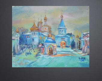 Picture Original Oil Painting The Evening Before Christmas