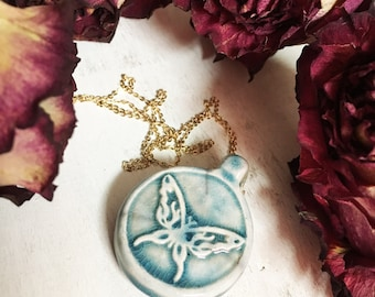 Blue Boho Clay Butterfly Pendant Necklace