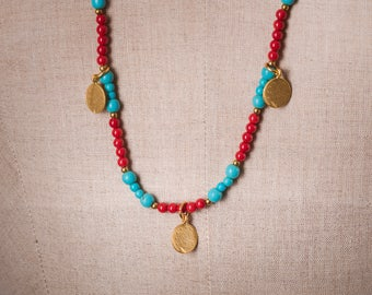 Howlite and Red Bamboo Charm Necklace