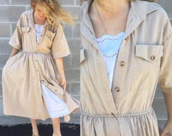 80s khaki work dress w/ full skirt & peekaboo lace