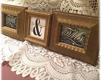 Mr and Mrs Wedding Gift Always and Forever 3 Opening Wedding Frame Gold Ripple Horizontal or Vertical