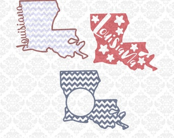 Louisiana State Set Monogram Chevron Home Outline SVG STUDIO Ai EPS Vector Instant Download Commercial Use Cutting FIle Cricut Silhouette