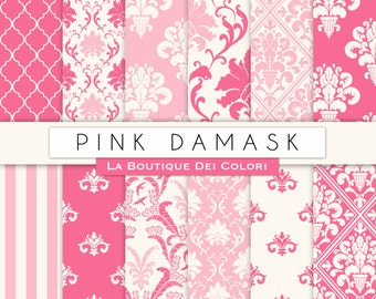 Cute pink damask digital paper. Pink digital paper pack of pink damask backgrounds patterns for commercial use clipart