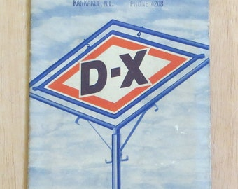 Vintage 1940's D-X Gasoline Oklahoma Advertising Road Map