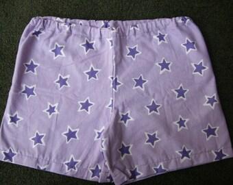 Winter Sale- Purple Stars Flannel Handmade Women's Pajama Shorts