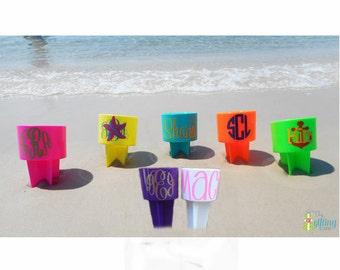 Monogrammed Beach Spiker, Personalized Beach Cup, Sand Spike, Beach Cup Holder, Drink Holder, Sand Spiker, Neon Spiker, Plastic Sand Spike