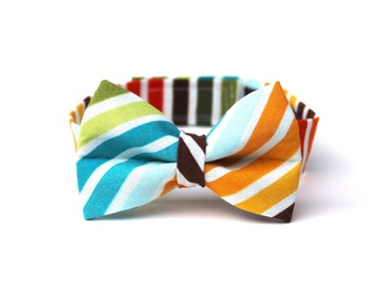 Baby Boy's Bow Tie - Multicolor Stripe - Brown Red Orange Yellow Green Blue White Multi Bowtie rainbow stripe bow tie Boys Bow Ties wedding