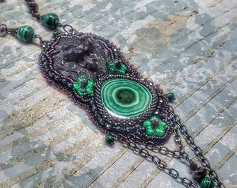 Necklace, Bead Embroidery, Beaded, Fantasy, Malachite, Lion, Green, Black, Pendant, Chain