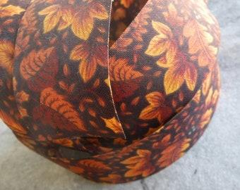 Brown Fall Leaves Fabric Ribbon 4 Yards