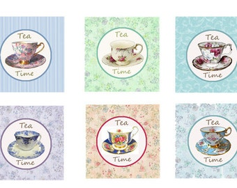 Tea Party circles, Vintage Tea Cups, Printable Tea Cupcake Toppers, Tea Party Favor, Birthday Party Tags, Instant Download, digital collage