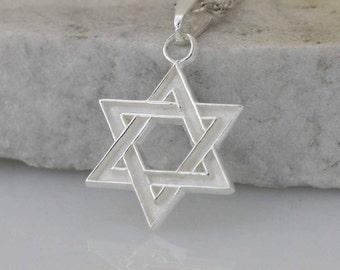David Star Necklace, Silver Star, David Star Charm, David Star Symbol, Religious Jewelry, Israel Star Necklace, Judaica Jewelry