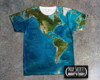World Oceans Map T Shirt, All Over Print Design, Save the Oceans, Environmental T Shirt World Map Shirt, Geography T Shirt, Atlantic Pacific
