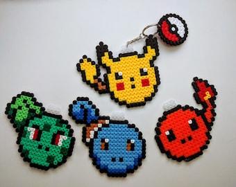 Pokemon Keychain of iron beads, Pikachu, Bulbasaur, Charmander, Squirtle, keychain, Nintendo, beads