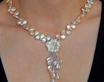 Rose Pendant with Champagne Off- White Biwa Freshwater Pearl Sterling Silver Wedding or Bridal Necklace with Tassel