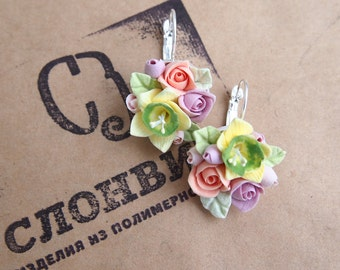 Earrings with tiny flowers