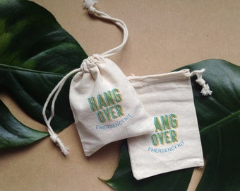 10 hand stamped 'hang over emergency kit' party pouches