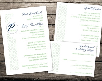 Polka Dot Circles 5 x 7 Custom Printable Wedding Invitation Set
