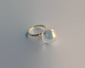 Ring with Clear Glass Marble