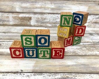 Vintage Wooden Alphabet Blocks, Set of 12