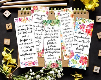 Bible Bookmarks, Printable Set of 8, Instant Download, 7 x 2.5 Inches, Inspirational Art Journal, Floral Scripture Cards, Watercolor Flowers