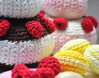 Crochet  raspberries - 5 psc - 100% cotton - crochet fruit