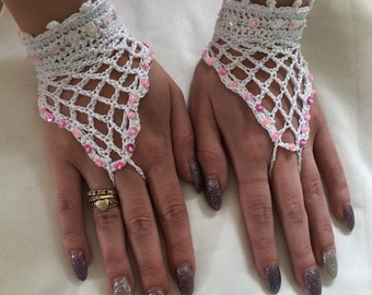 Fingerless fashion gloves  plain or beaded  crocheted in fine 100%cotton yarn