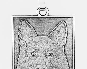 925zilveren rectangle pendant with your photo in 3d laser embossed engraving.