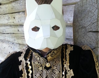 Make your own Cat mask, cat costume from card , Digital download, Printable Mask