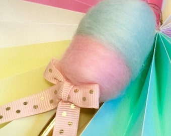 Cotton candy ornament mint green and pastel pink cotton candy fake candy party decor carnival theme fairy floss
