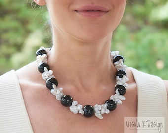"20"" Keshi Pearl Black Onyx Statement Necklace, One-of-a-Kind Fine Pearl Jewelry, White Keshi Pearl Black Necklace, Elegant Pearl Jewelry"