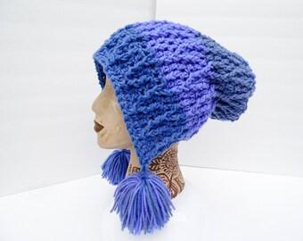 Slouchy Snow Bunny Hat, Blackberry Swirl Vines Hat, Sweet Rolls