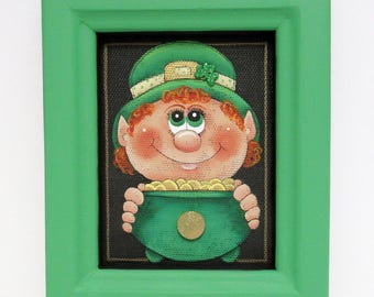 St. Patrick's Day Leprechaun with Pot of Gold, Tole Painted on Black Screen, Framed in Reclaimed Hand Crafted Wood Frame, Green Shamrocks